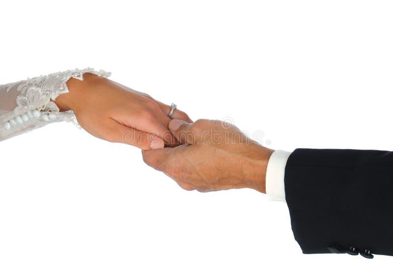 Closeup Wedding Couple Holding Hands Royalty Free Stock Photo
