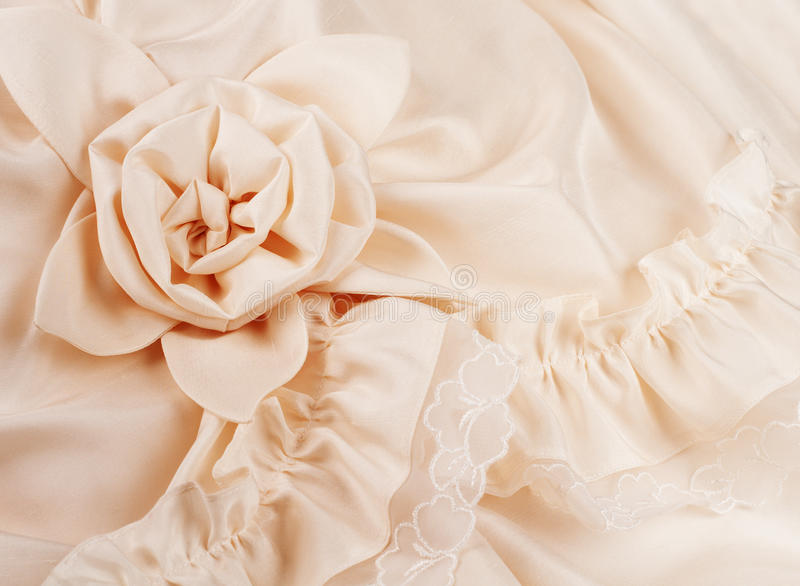 Closeup of Wedding Dress with Space for Your Words. Closeup of ivory wedding gown details with room for text royalty free stock image
