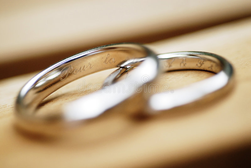 Closeup of wedding rings royalty free stock photo