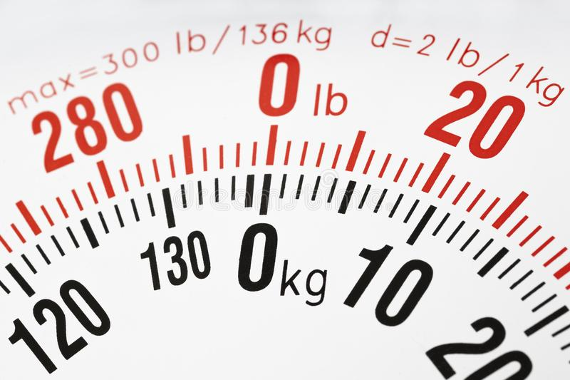 Closeup of the weight scale kg and lb royalty free stock images