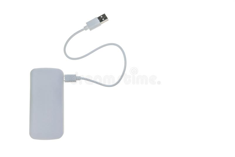 White generic mobile phone powerbank charger isolated on white background with copy space on right royalty free stock photography