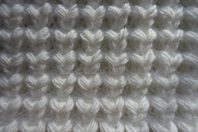 Closeup Of White Knitted Fabric With Unusual Pattern Stock ...