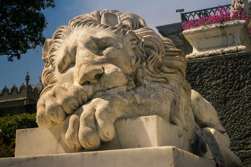 Closeup White Marble Lion Head Sculpture in Crimea Vorontsov Palace. Closeup head of old white marble lion sculpture in Crimea Vorontsov palace park in stock photo