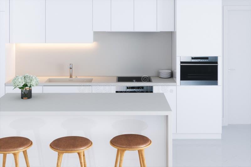 Download Closeup White Minimalistic Kitchen 3d Render Stock Illustration    Illustration Of Dining, Furniture:
