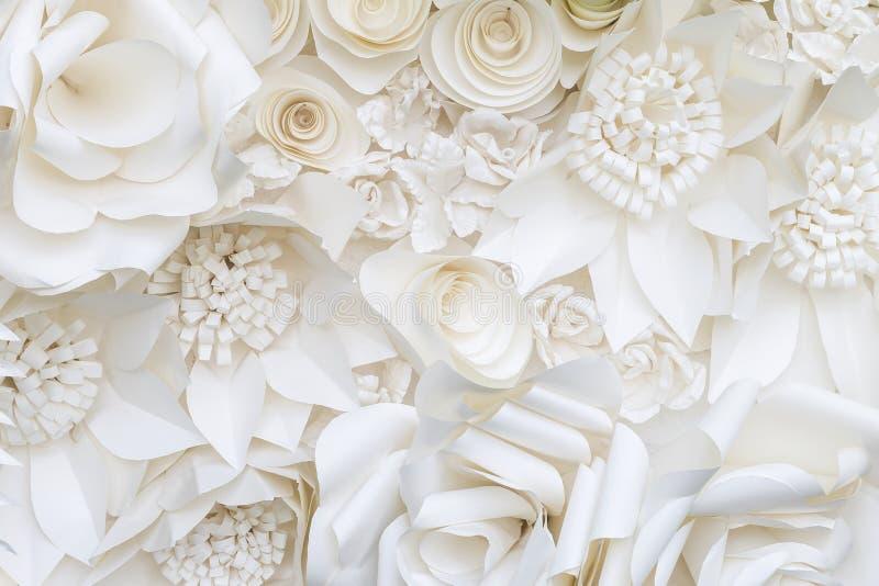 Closeup white paper flower design background stock image