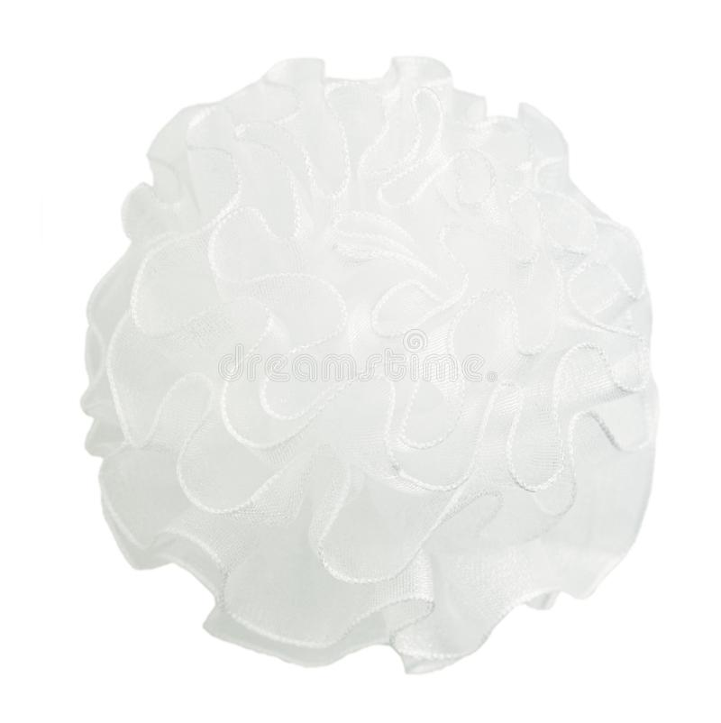 Closeup of white round waved bow for school girl royalty free stock image