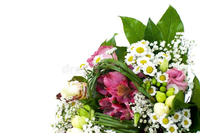 Closeup Of White Wedding Bouquet Stock Photo