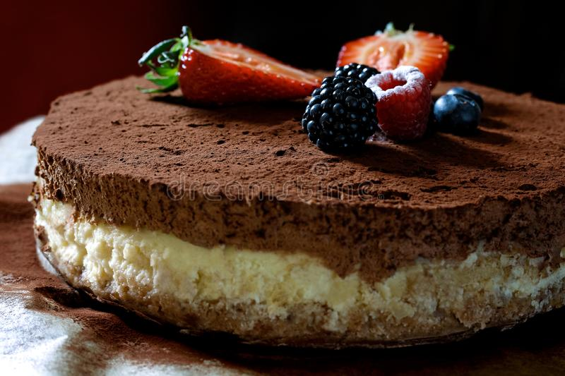 Closeup of whole homemade cheesecake on baking paper with cocoa and fruit topping royalty free stock photo