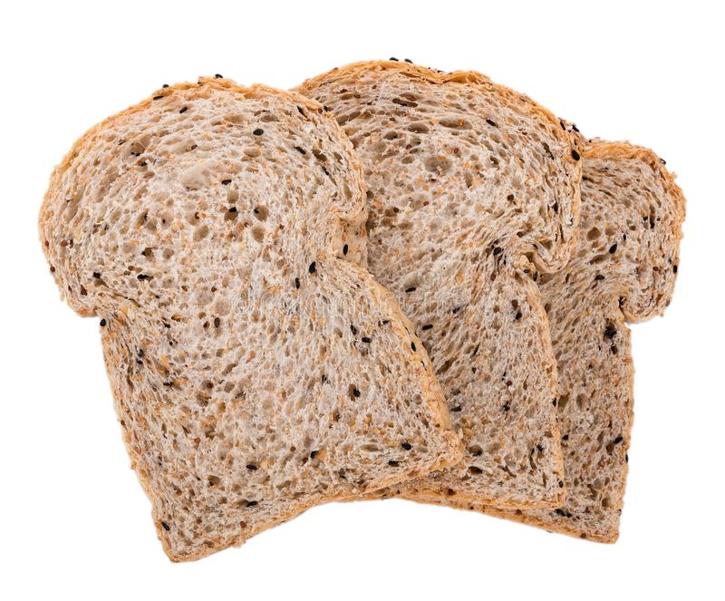 Whole wheat bread isolated on white background royalty free stock images