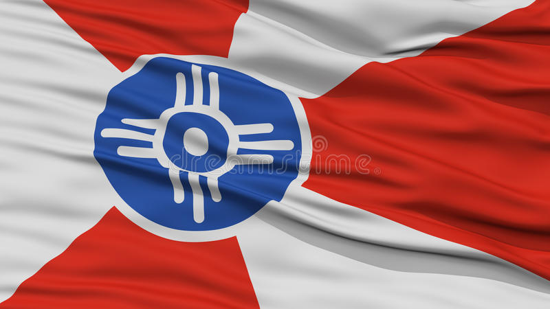 Closeup of Wichita City Flag. Waving in the Wind, Kansas State, United States of America royalty free illustration