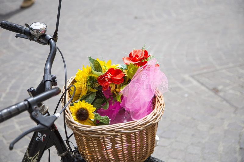 Closeup of wicker bicycle basket stock photography