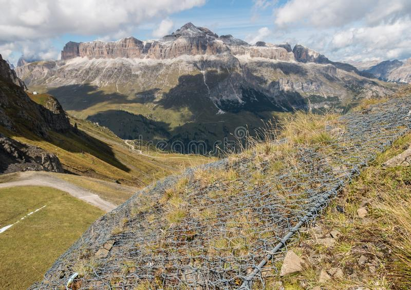 Wire erosion protection in Dolomites, Italy stock photos