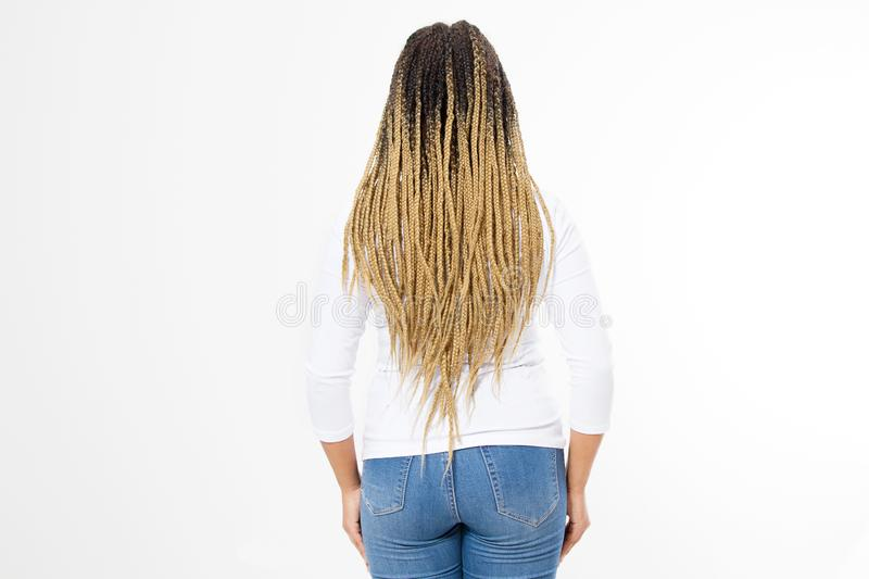 Closeup woman dreadlocks and afro braids. African american girl hair style back rear view isolated on white background. Hairstyle royalty free stock image