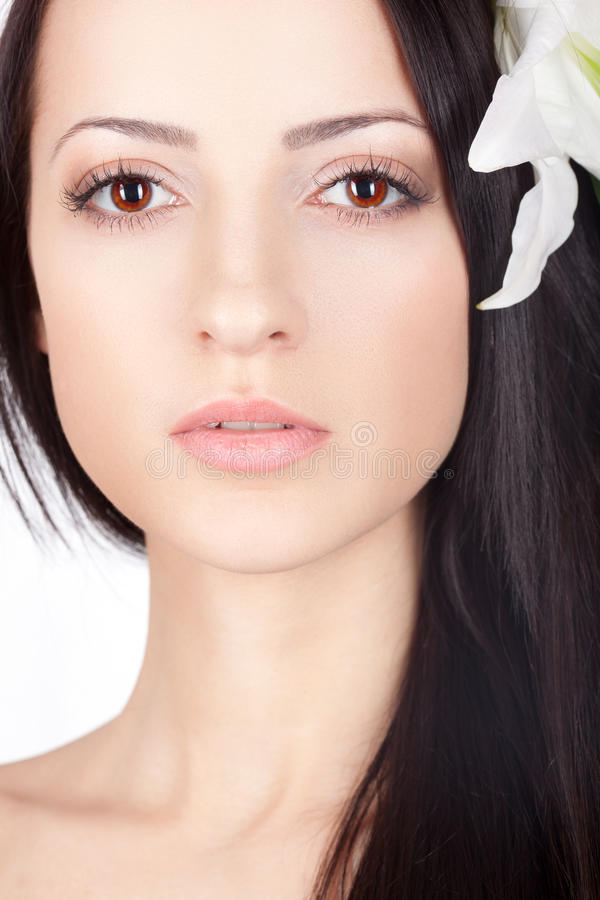 Download Closeup Woman Face With Lily In Hair Stock Image - Image of people, beautiful: 24621113