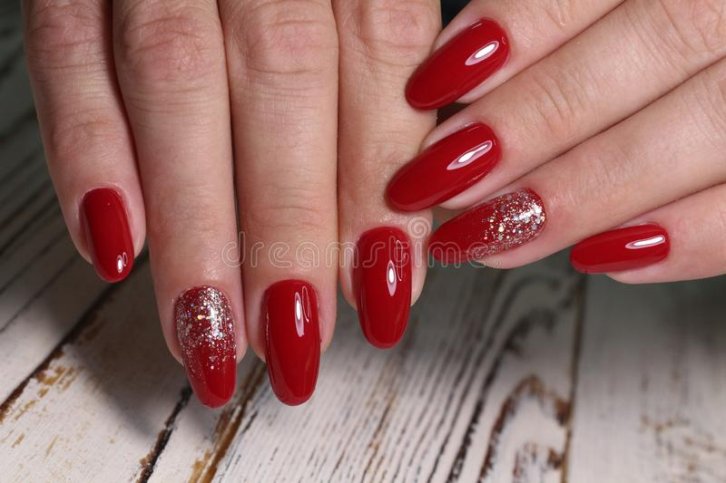 Closeup of woman hands with nail design royalty free stock photography