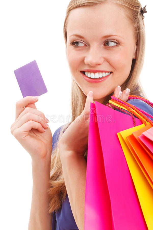 Download Closeup Woman Portrait With Shopping Bags And Card Stock Photo - Image: 28858222