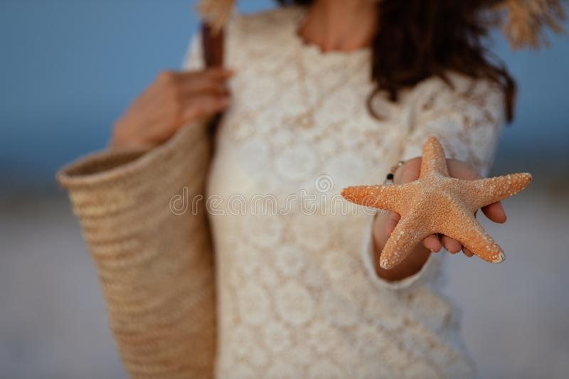 Closeup on woman on seashore at sunset showing starfish royalty free stock image