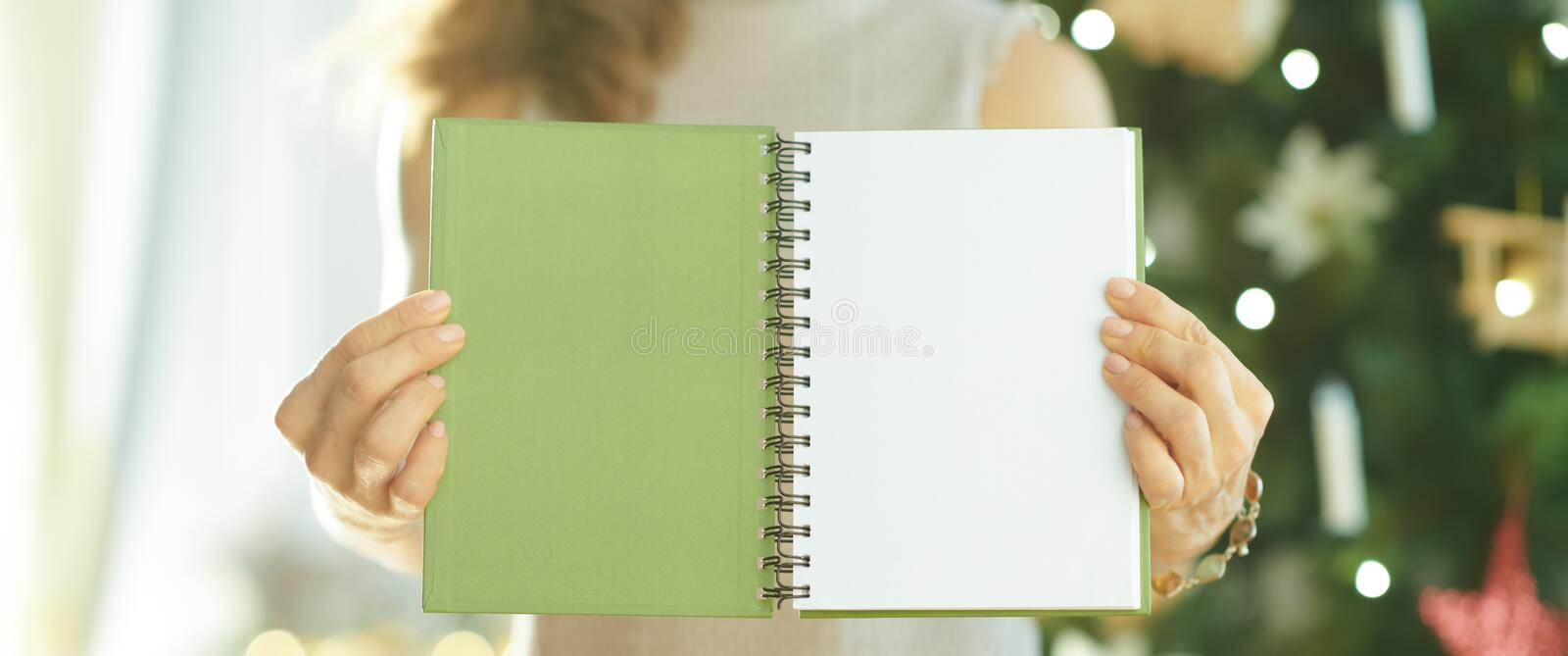 Closeup on woman showing green notebook with open blank page stock photos