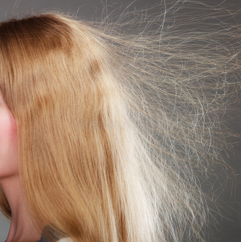 Closeup of woman with static blonde hair. royalty free stock photography