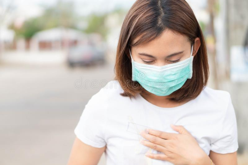 Closeup woman wearing face mask for protect air polution, health care and medical concept. Closeup woman wearing face mask for protect air polution, health care royalty free stock photos