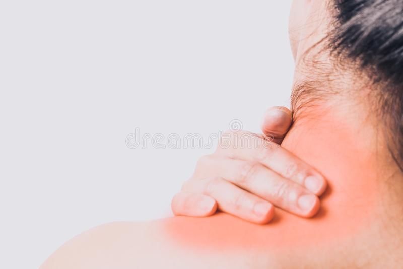 Closeup women neck and shoulder pain/injury with red highlights on pain area with white background, healthcare and medical concept. Closeup women neck and stock photos