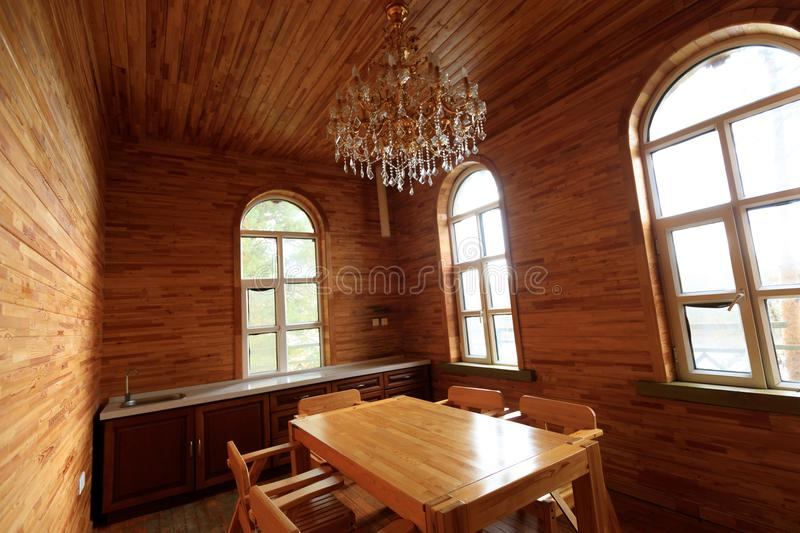 Wooden house kitchen interior royalty free stock image