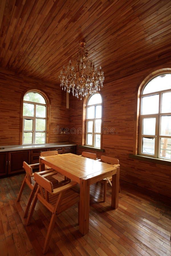 Wooden house kitchen interior stock photo