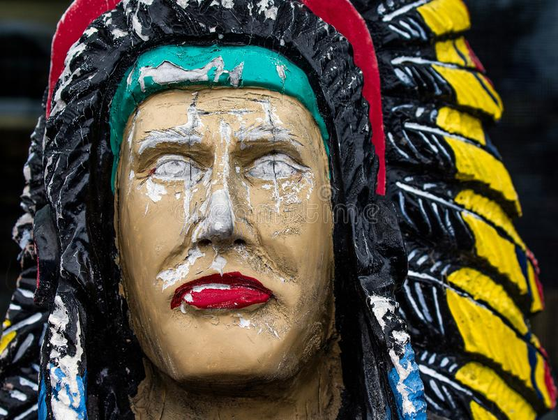 Closeup of a Wooden Indian Statue stock image