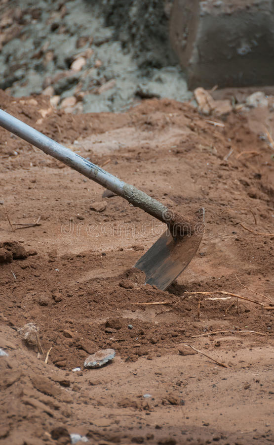 Closeup work with spade for excavation