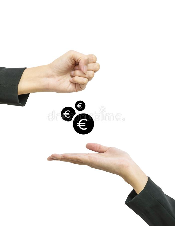 Closeup working woman hand give coin in euro currency to another people hand hold out to receive isolated on white background in b royalty free stock photo