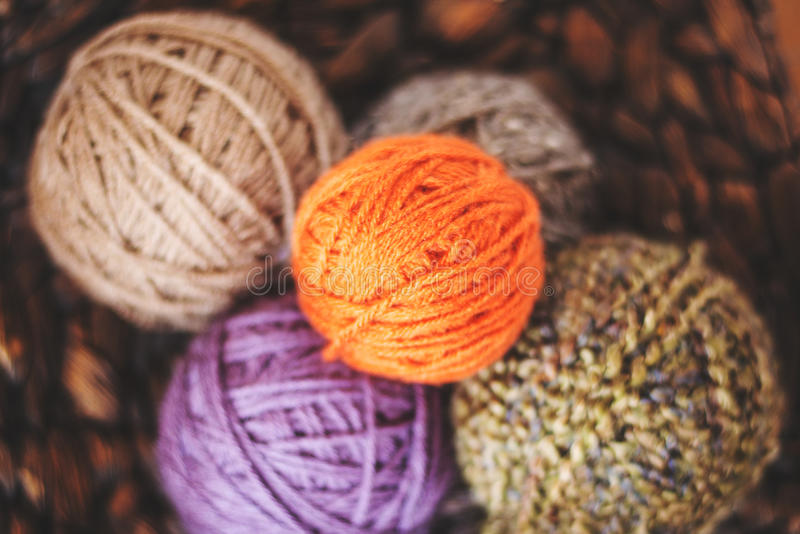 Closeup of yarn in a basket. stock images