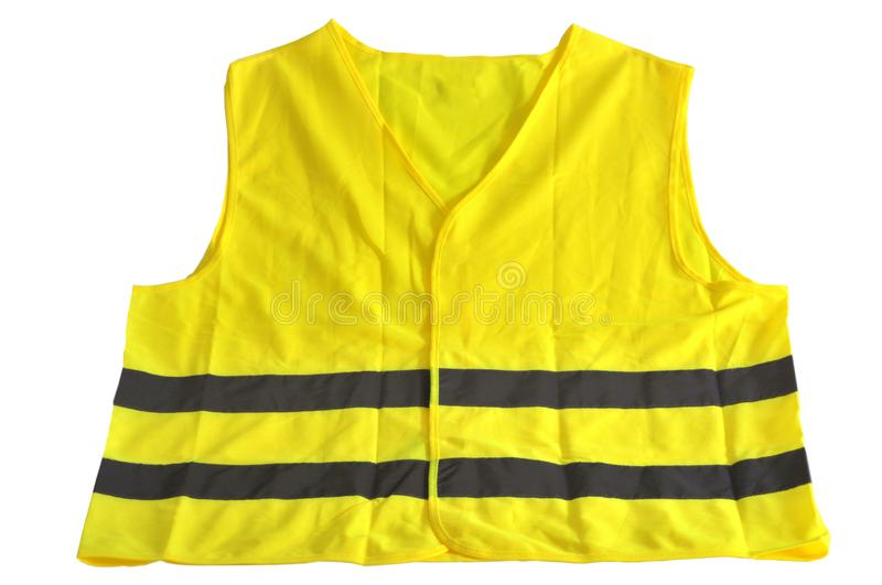 A yellow vest. Closeup on a yellow vest on a white background royalty free stock photo