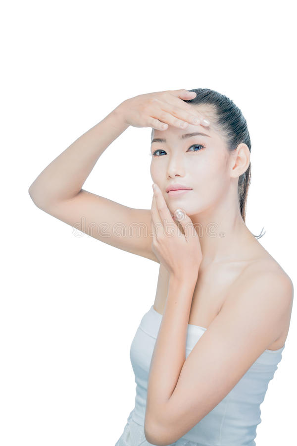 Closeup young asian woman face with clean skin royalty free stock image