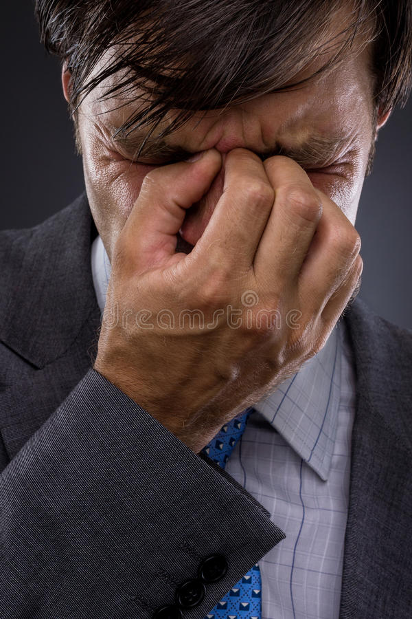 Download Closeup Of Young Business Man With Headache Stock Image - Image: 26162995