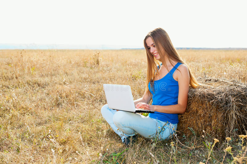 Download Closeup Of A Young Girl Using Laptop Stock Photography - Image: 21282592