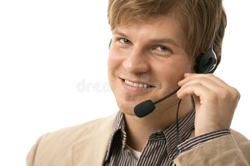 Closeup Of Young Man With Headset Stock Images