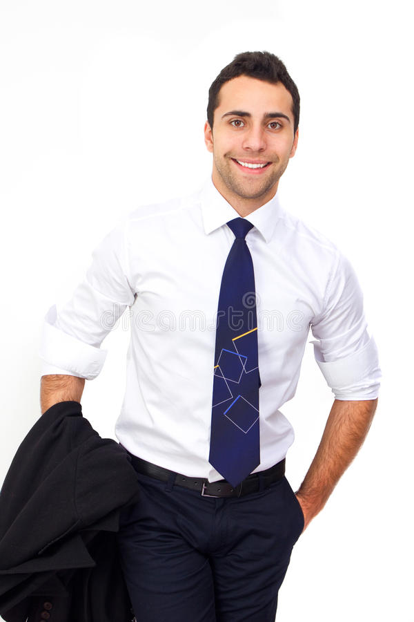 Closeup of a young smiling business man royalty free stock photo