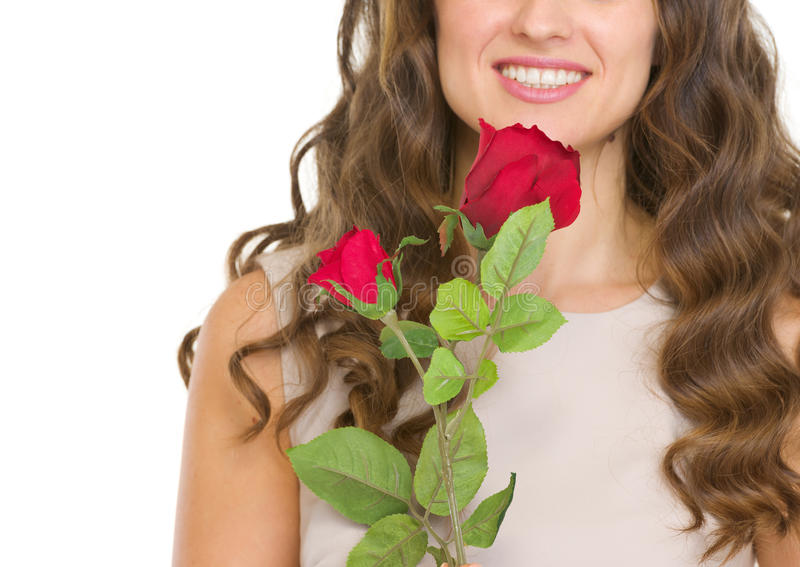 Download Closeup On Young Woman With Red Rose Stock Photo - Image: 28707644