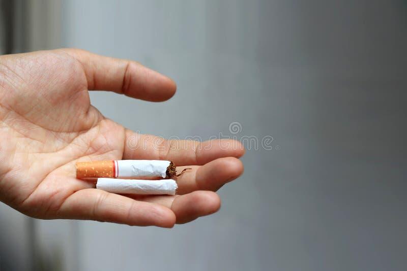 Closeupen av den manliga handen som rymmer den brutna cigaretten gömma i handflatan på royaltyfri fotografi