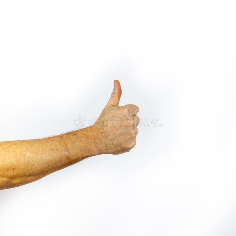 Closeupen av den manliga handvisningen tummar upp tecken mot vit backgr royaltyfria bilder