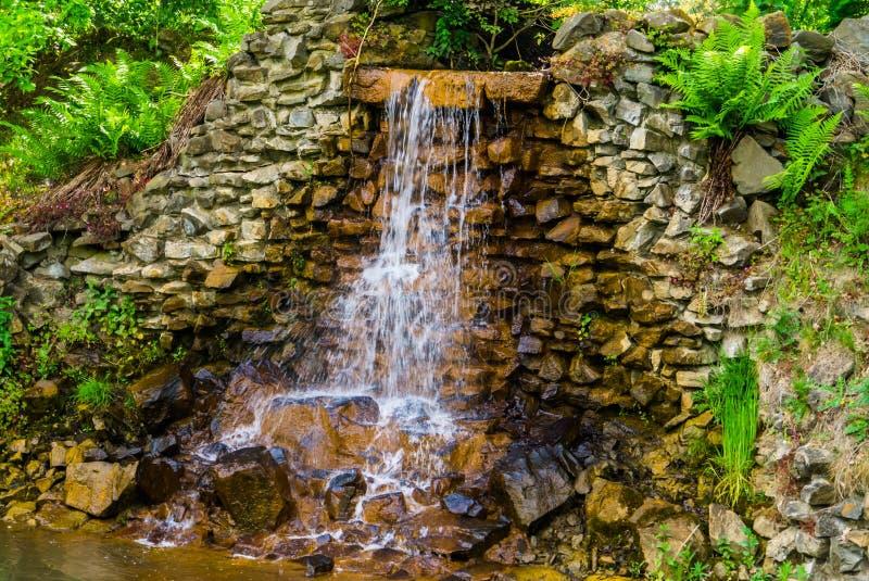 Closeupen av en strömmande vattenfall som är härlig arbeta i trädgården arkitektur, naturbakgrund royaltyfria foton