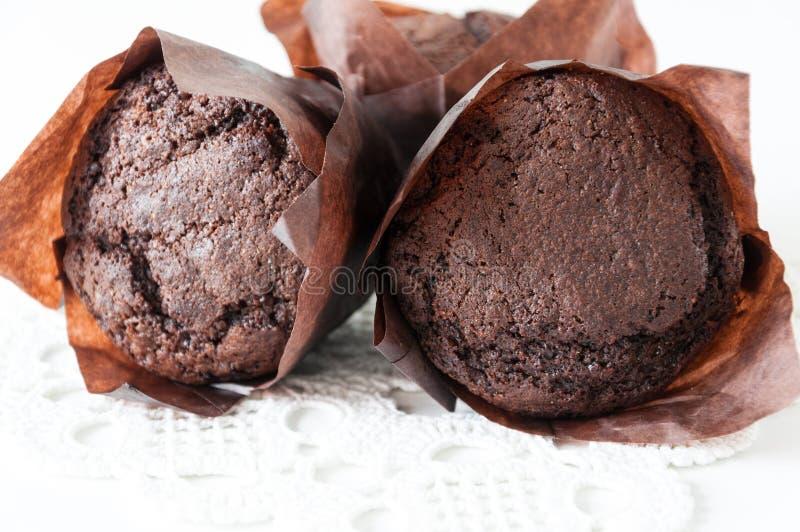 Chokladmuffincloseup arkivbilder