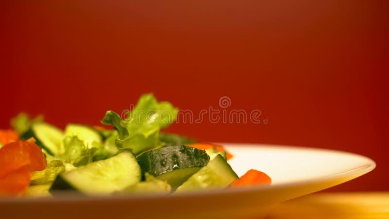 Closeupen av sallad med grönsaker som är sund bantar för viktförlust, vegetarisk mat royaltyfria foton