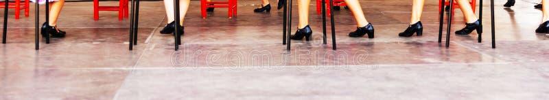 Closeupen av typiska skor till de traditionella spanska flamencodansskorna, piskar höga häl royaltyfria foton
