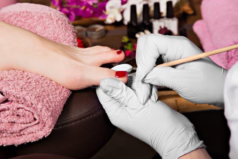 Closeupfingret spikar omsorg av pedikyrspecialisten i skönhetsalong fotografering för bildbyråer