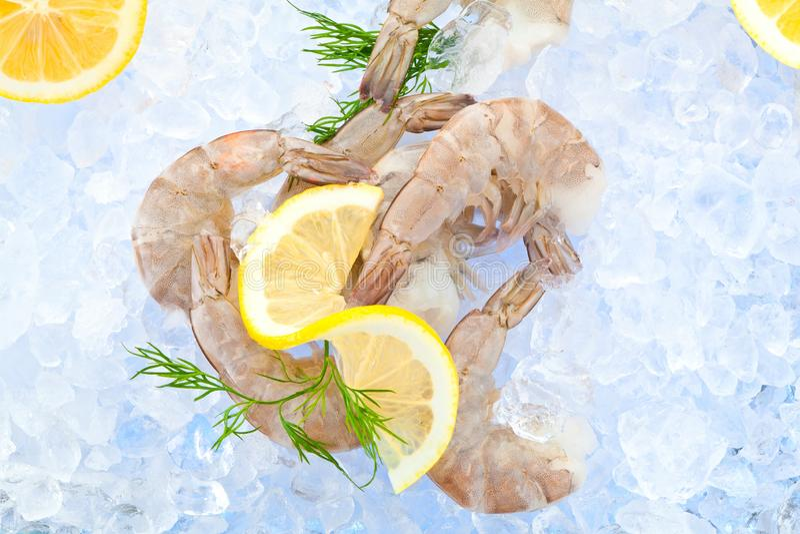 Closeupfoto av det stora formatet av djupfryst rå räka med den borttagna svansen arkivfoton