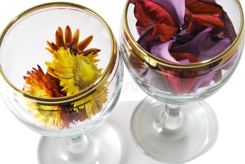 Closeupfoto av två exponeringsglas med pressande blommor arkivfoton
