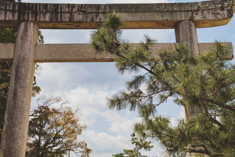 Closeupfotografi av en stenTorii port på den Itsukushima relikskrin på Miyajima, Japan royaltyfri bild