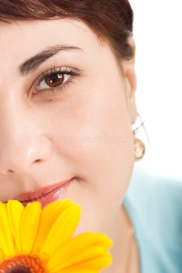 closeupframsidakvinna arkivfoto