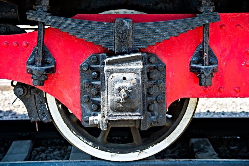 Closeupsikt av gamla hjul för en järnväg bil, bladvårar, tidskrift arkivfoton